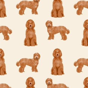 labradoodle dog pattern fabric - apricot labradoodle design, apricot dog, dog breed fabric, dog breeds fabric, cute dog -  light
