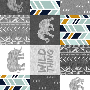 Wild Thing Safari Quilt - Navy, Mint, Gold And Grey - ROTATED
