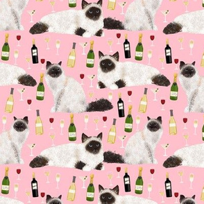 birman cat and wine pattern fabric - birman cat fabric, birman cat pattern, pet friendly cat lady fabric - pink