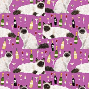 birman cat and wine pattern fabric - birman cat fabric, birman cat pattern, pet friendly cat lady fabric - purple