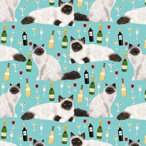 birman cat and wine pattern fabric - birman cat fabric, birman cat pattern, pet friendly cat lady fabric - blue