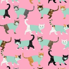 cats in scrubs pattern fabric, - dentist, doctor, nurse scrubs fabric, cat lady pattern, cats pattern fabric, pet friendly - pink