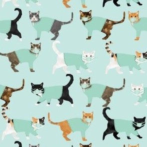 cats in scrubs pattern fabric, - dentist, doctor, nurse scrubs fabric, cat lady pattern, cats pattern fabric, pet friendly - light mint