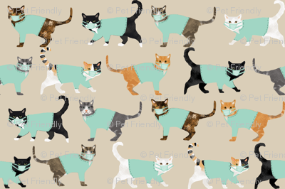 cats in scrubs pattern fabric, - dentist, doctor, nurse scrubs fabric, cat lady pattern, cats pattern fabric, pet friendly -tan