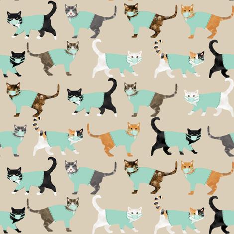 cats in scrubs pattern fabric, - dentist, doctor, nurse scrubs fabric, cat lady pattern, cats pattern fabric, pet friendly -tan fabric by petfriendly on Spoonflower - custom fabric