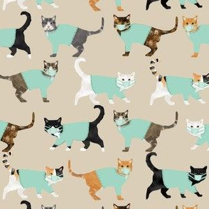 cats in scrubs pattern fabric, - dentist, doctor, nurse scrubs fabric, cat lady pattern, cats pattern fabric, pet friendly -tan