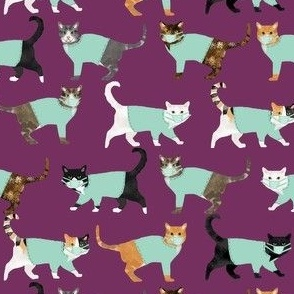 cats in scrubs pattern fabric, - dentist, doctor, nurse scrubs fabric, cat lady pattern, cats pattern fabric, pet friendly - dark purple