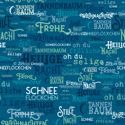O Tannenbaum Text Deutsch.Traditional German Christmas Carols Texture Print In Blue Turquoise