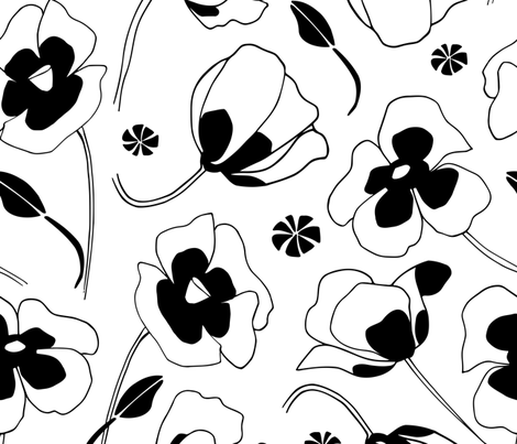Black And White Poppies Pattern fabric by mariamsol on Spoonflower - custom fabric