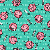 The Mighty Fighting d20s in Pink & Green