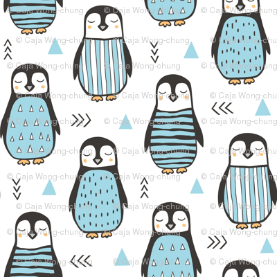 Penguins with Sweater Geometric  and Triangles Blue  on White