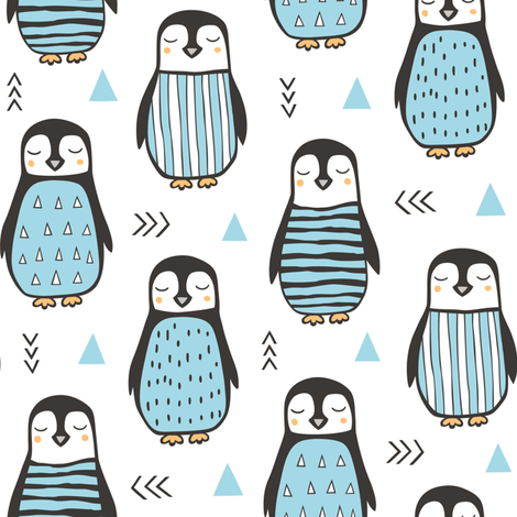 Penguins with Sweater Geometric  and Triangles Blue  on White fabric by caja_design on Spoonflower - custom fabric