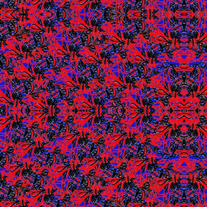 Tangle - Red_ Black on Blue Large 12.5 x 8.75 inches-ed