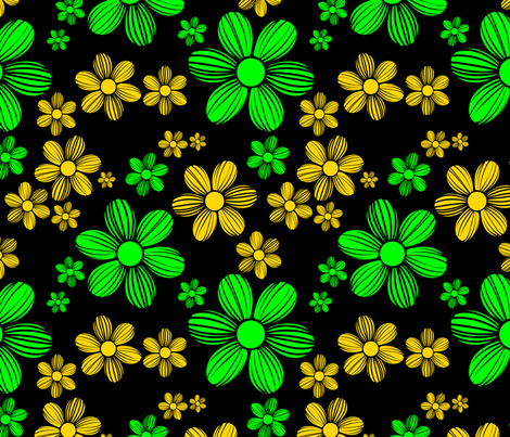 Gold Yellow Green Black Background Color Summer Daisy Flower