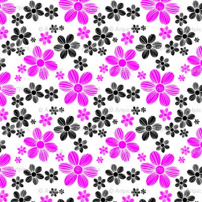 Magenta Black Color Summer Daisy Flower Pattern