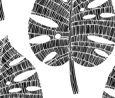 tropical leaf (Black on white) fabric by kate_rowley on Spoonflower - custom fabric
