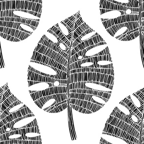tropical leaf (Black on white)