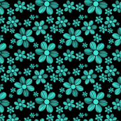Turquoise Black Background Color Summer Daisy Flower Pattern