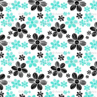 Turquoise Licorice Black Color Summer Daisy Flower Pattern