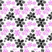 Violet Licorice Black Color Summer Daisy Flower Pattern