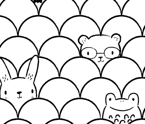 "Peek-a-boo Animals Large 24 x 48"" fabric by rosalindmaroneyillustration on Spoonflower - custom fabric"