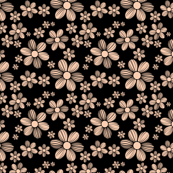 Apricot Beige Black Background Color Summer Daisy Flower Pattern