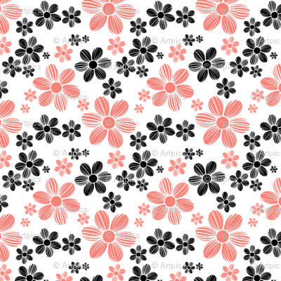 Coral Pink Black Color Summer Daisy Flower Pattern