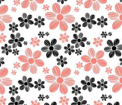 Coral-pink-black-color-summer-daisy-flower-pattern_shop_preview