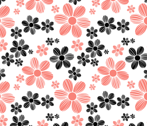 Coral Pink Black Color Summer Daisy Flower Pattern fabric by artpics on Spoonflower - custom fabric