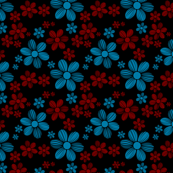 Maroon Red Cerulean Blue Black Background Color Summer Daisy Flower Pattern