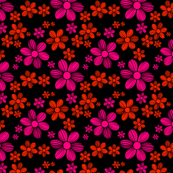 Rose Scarlet Red Black Background Color Summer Daisy Flower Pattern