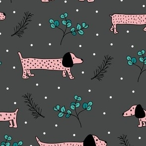 Sweet dachshund  wienerdog puppy Christmas winter wonderland puppy dog love pink night