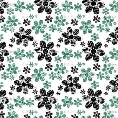 Viridian Green Licorice Black Color Summer Daisy Flower Pattern