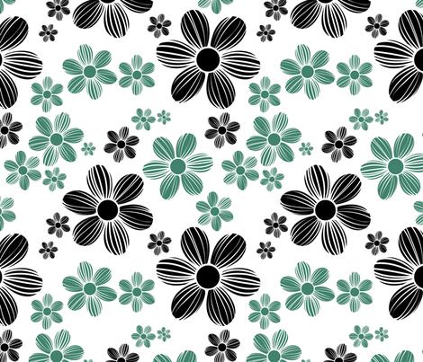 Viridian Green Licorice Black Color Summer Daisy Flower Pattern fabric by artpics on Spoonflower - custom fabric