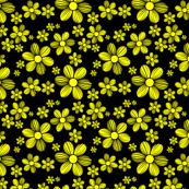 Yellow Black Background Color Summer Daisy Flower Pattern