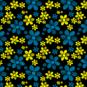 Yellow Cerulean Blue Black Background Color Summer Daisy Flower Pattern