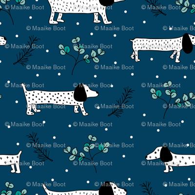 Sweet dachshund wienerdog puppy Christmas winter wonderland puppy dog love blue night SMALL
