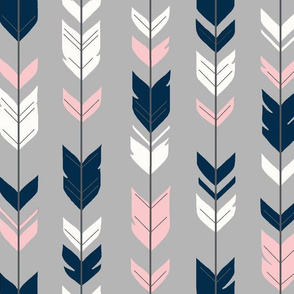 Arrows feathers - pink, navy, white on grey