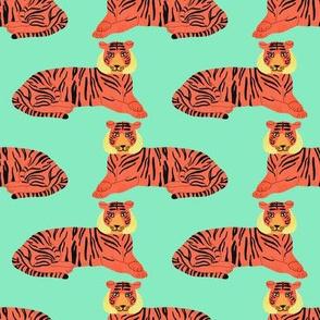 Tiger (Moss Green) / tiger animal safari wild jungle adventure kids room decor cute fun