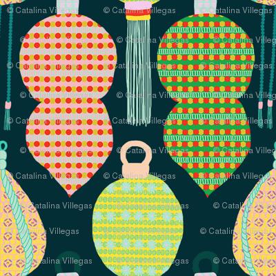 Ornaments with Tassels (Winter Blue) / xmas christmas holiday seasonal jolly festive