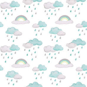 rainy days with rainbow – aqua & yellow on white