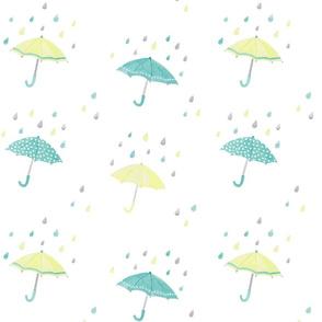 umbrellas in the rain - aqua & yellow on white