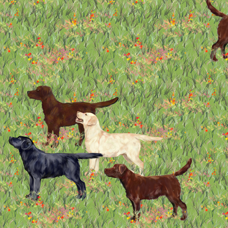 Labrador Retrievers Eager for a Day in the Field fabric by eclectic_house on Spoonflower - custom fabric