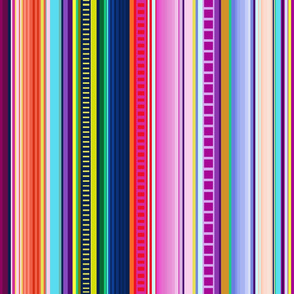 Multicolor Mexican Serape Inspired Stripe Fabric (Larger Scale)