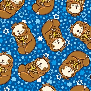 Sloth Hanukkah Menorah Large