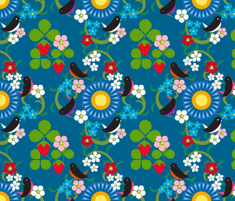 Scandinavian Birds & Strawberries fabric by vivaeris_designs on Spoonflower - custom fabric
