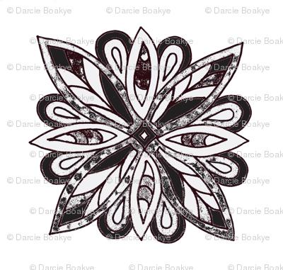 batik floral black and white