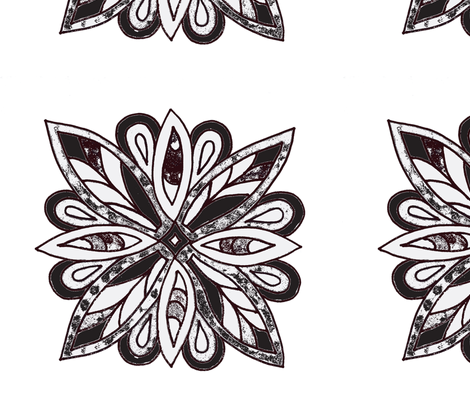 batik floral black and white fabric by dnbmama on Spoonflower - custom fabric