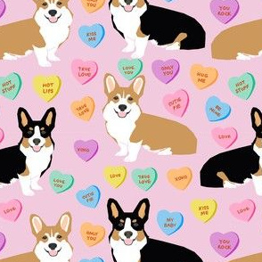 cute corgi valentines candy pattern fabric - valentines dog fabric, valentines corgi fabric, cute dog design, conversation heart fabric - pink