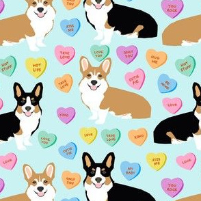 cute corgi valentines candy pattern fabric - valentines dog fabric, valentines corgi fabric, cute dog design, conversation heart fabric - blue